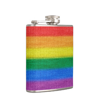 Rainbow Flag knitting Stripes seamless pattern Hip Flask