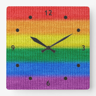 Rainbow Flag knitting Stripes seamless pattern Square Wall Clock