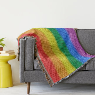 Rainbow Flag knitting Stripes seamless pattern Throw