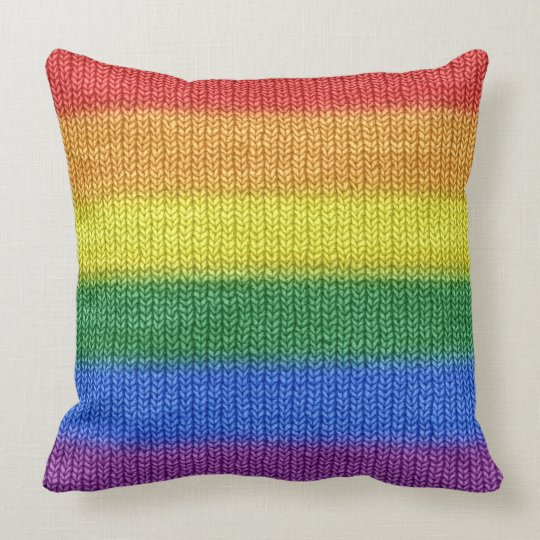 Knitting Patterns For Throw Pillows : Rainbow Flag knitting Stripes seamless pattern Throw Pillow Zazzle