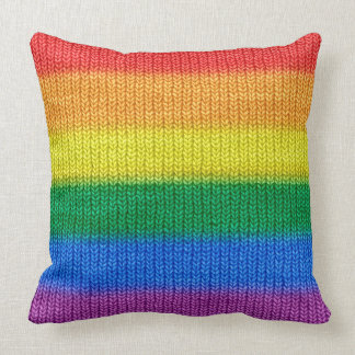 Rainbow Flag knitting Stripes seamless pattern Throw Pillow