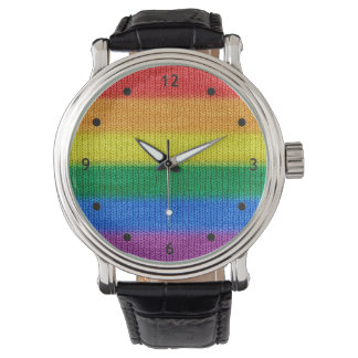 Rainbow Flag knitting Stripes seamless pattern Wristwatch