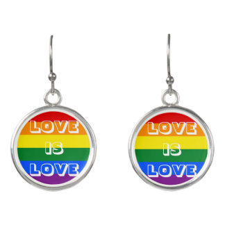 Rainbow Flag LGBT Gay Pride Love is Love Earrings