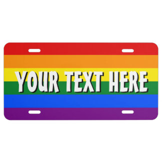 Rainbow flag license plate with personalized text