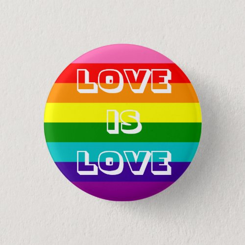 Rainbow Flag Love is Love Gay Pride LGBT 8 Stripes Pinback Button