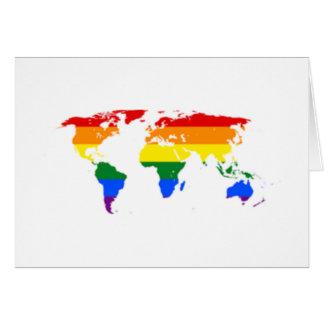 Rainbow Flag Map Greeting Cards