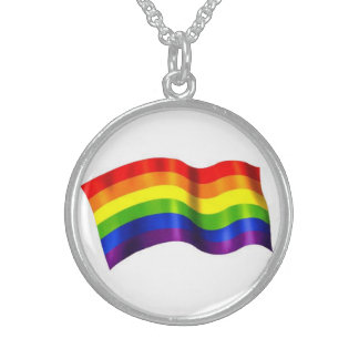 Rainbow Flag Necklace - Sterling Silver