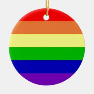 Rainbow Flag Double-Sided Ceramic Round Christmas Ornament