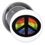 Rainbow Flag Peace Symbol Button
