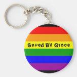 rainbow flag, Saved By Grace Basic Round Button Keychain