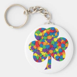 Rainbow Flag Shamrock Field Keychain #2