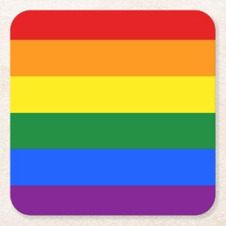 Rainbow Flag Square Paper Coaster
