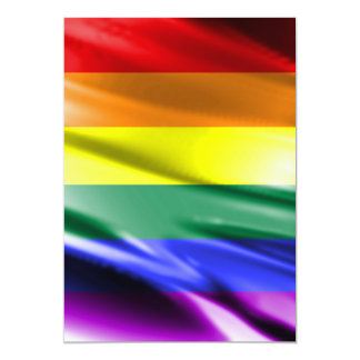 "RAINBOW FLAG SQUARE SILK 5"" X 7"" INVITATION CARD"