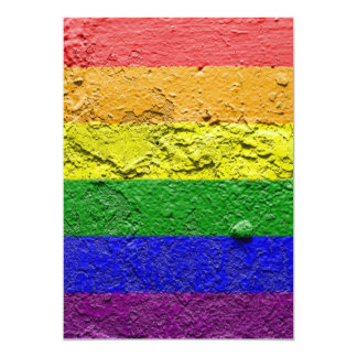 "RAINBOW FLAG SQUARE STUCCO 5"" X 7"" INVITATION CARD"