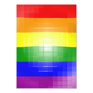 "RAINBOW FLAG SQUARE TILE 5"" X 7"" INVITATION CARD"