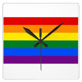 Rainbow Flag Square Wall Clock