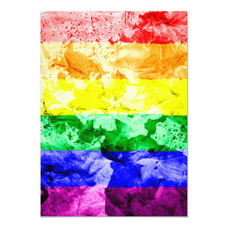 "RAINBOW FLAG SQUARE WATERCOLOR 5"" X 7"" INVITATION CARD"