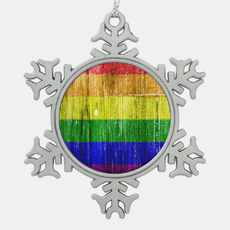 RAINBOW FLAG SQUARE WOOD PATTERN -.png Snowflake Pewter Christmas Ornament