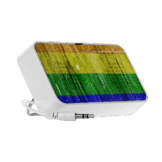 RAINBOW FLAG SQUARE WOOD PATTERN - png Travelling Speaker