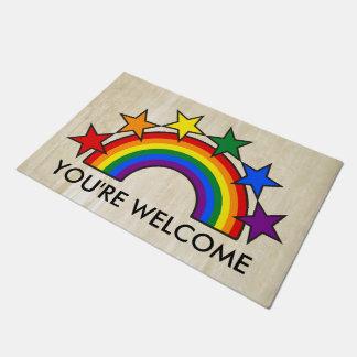 RAINBOW FLAG & STARS COLORS II + your ideas Doormat