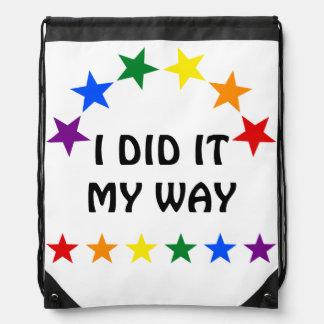 RAINBOW FLAG STARS II + your ideas Cinch Bags