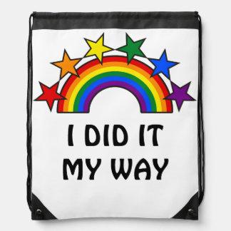 RAINBOW FLAG STARS III + your ideas Drawstring Backpacks