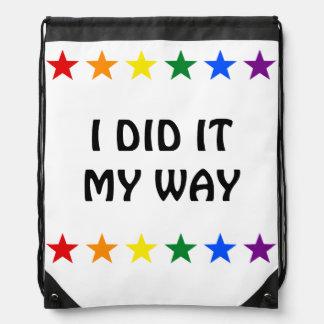 RAINBOW FLAG STARS + your ideas Drawstring Bag