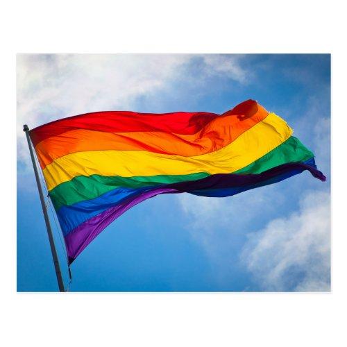 Rainbow Flag Waving in the Wind Postcard