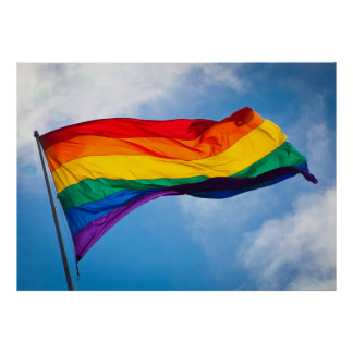 Rainbow Flag Waving in the Wind Poster