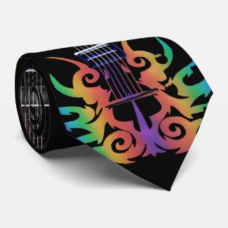 Rainbow Flames Electric Guitar Music Neck Tie