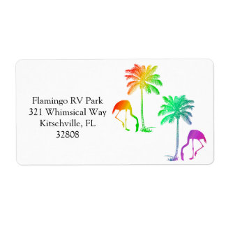Rainbow Flamingo and Palm Trees Label