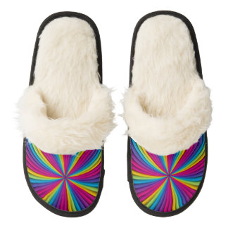 Rainbow Flare Pair Of Fuzzy Slippers
