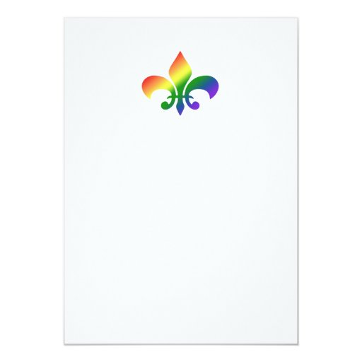 Rainbow Fleur de Lis 5x7 Paper Invitation Card