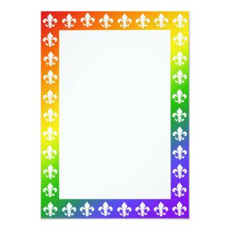 Rainbow Fleur de Lis Border 2 Invitation