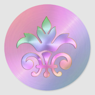 Rainbow Fleur de Lis Envelope Seal Classic Round Sticker