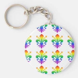Rainbow Fleur-de-lis Keychain