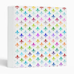 Rainbow fleur de lis pattern binder