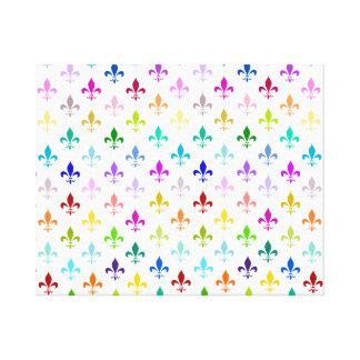 Rainbow fleur de lis pattern canvas print