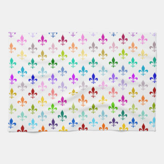 Rainbow fleur de lis pattern towel