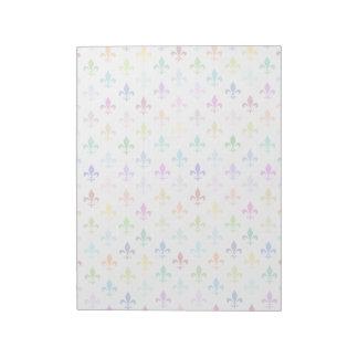 Rainbow fleur de lis pattern notepad
