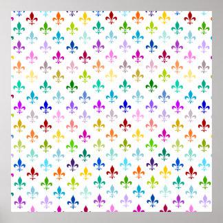 Rainbow fleur de lis pattern posters