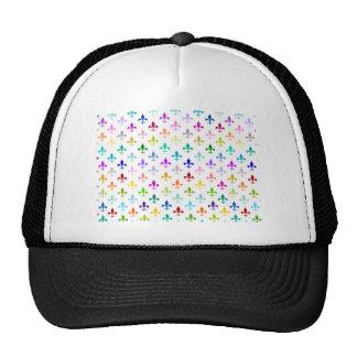 Rainbow fleur de lis pattern trucker hat