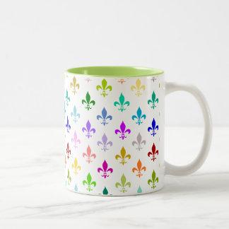 Rainbow fleur de lis pattern Two-Tone coffee mug