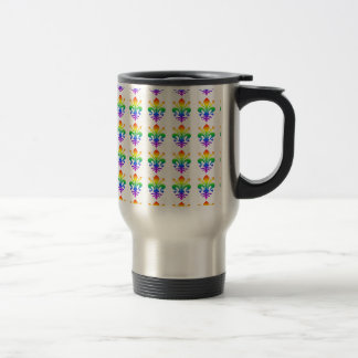 Rainbow Fleur-de-lis Travel Mug