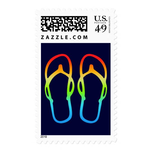 Rainbow Flip Flop Sandals postage stamps