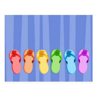 Rainbow Flip Flops Postcard