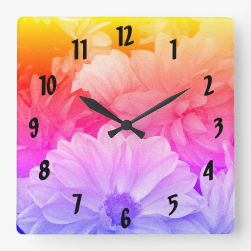 Rainbow Floral Abstract Dahlia Garden Flowers Square Wall Clock
