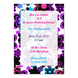 Rainbow Floral Birthday Invitation Teen Girl Party