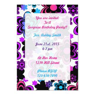 Rainbow Floral Birthday Invitation Teen Girl Party