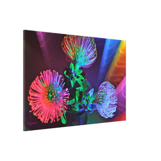 Rainbow Floral Stretched Canvas Print